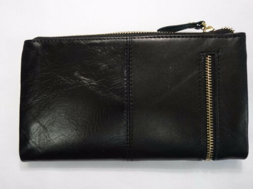 Soft Leather Purse Wallet Organiser Slim Black Colour