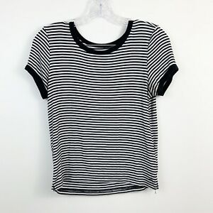 American-Eagle-Soft-amp-Sexy-Black-White-Striped-Stretch-Crop-Top-Womens-Size-S
