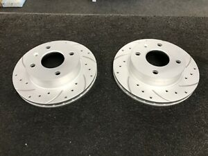 FORD-ESCORT-XR3I-FIESTA-ORION-FRONT-BRAKE-DISCS-DRILLED-GROOVED-240MM-VENTED