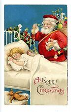 Happy Christmas -RED SUIT SANTA & SLEEPING GIRL-IAP Embossed Postcard Teddy Bear