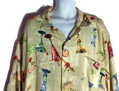 After Dark 4X Men's Short Sleeve Casual 100% Rayon Hawaiian Cocktail Party Shirt