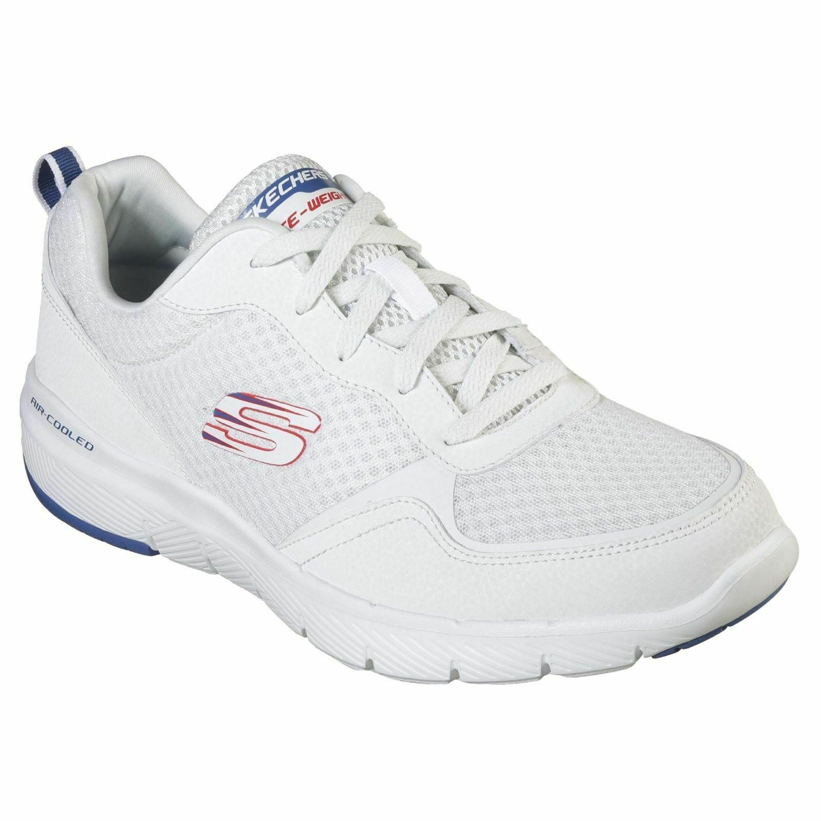 Skechers Mens Flex Advantage 3 Lace Air Cooled Memory Foam White bluee Trainers