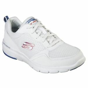 Details about Skechers hommes Flex Advantage 3 Lace Air Cooled Memory Foam White Blue Trainers