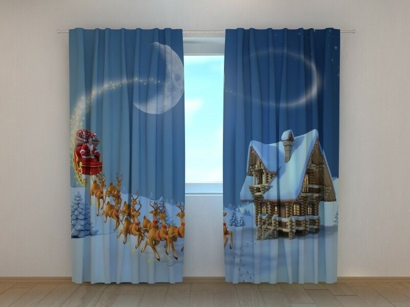 Christmas Curtain Christmas Story Wellmira Ready to Hang Winter Holiday Decor 3D