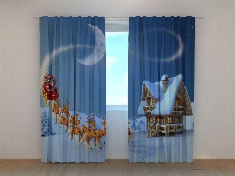 Cortina De Navidad Cuento de Navidad wellmira Listo para Colgar Decoración de vacaciones de invierno 3D