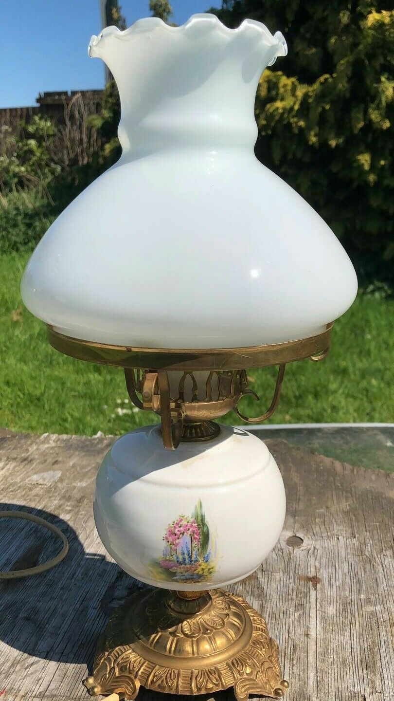 Antique Vintage Ceramic and Brass Electric Oil Lamp Table Light Lamp