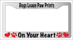 Chrome License Plate Frame Dogs Leave Paw Prints Auto