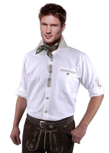 Trachtenhemd Herrenhemd Herren Langarm Kurzarm Edelweiß Reine Baumwolle Weiß