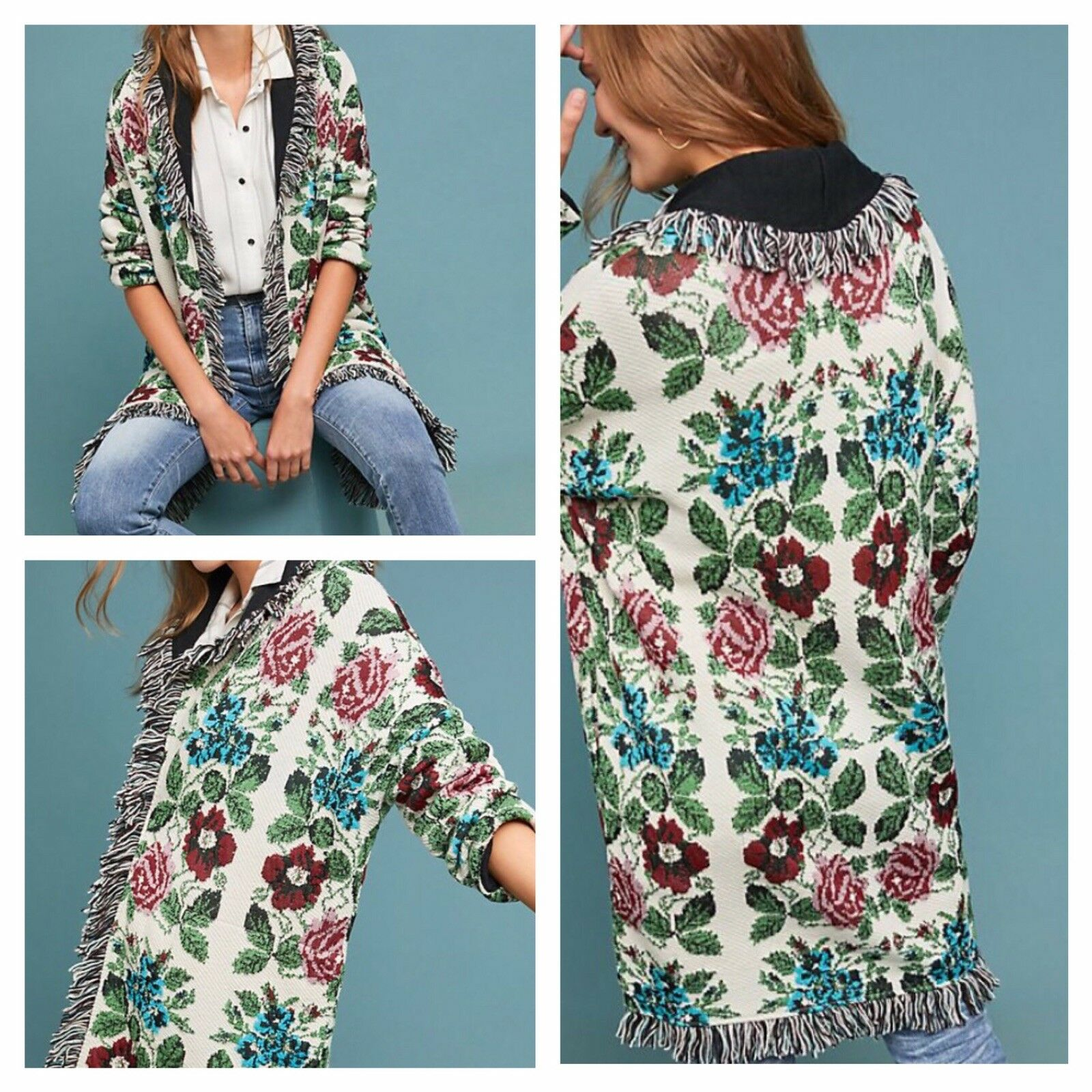 NWT Anthropologie Floral Intarsia Cardigan Sweater By Aldomartins XL NEW