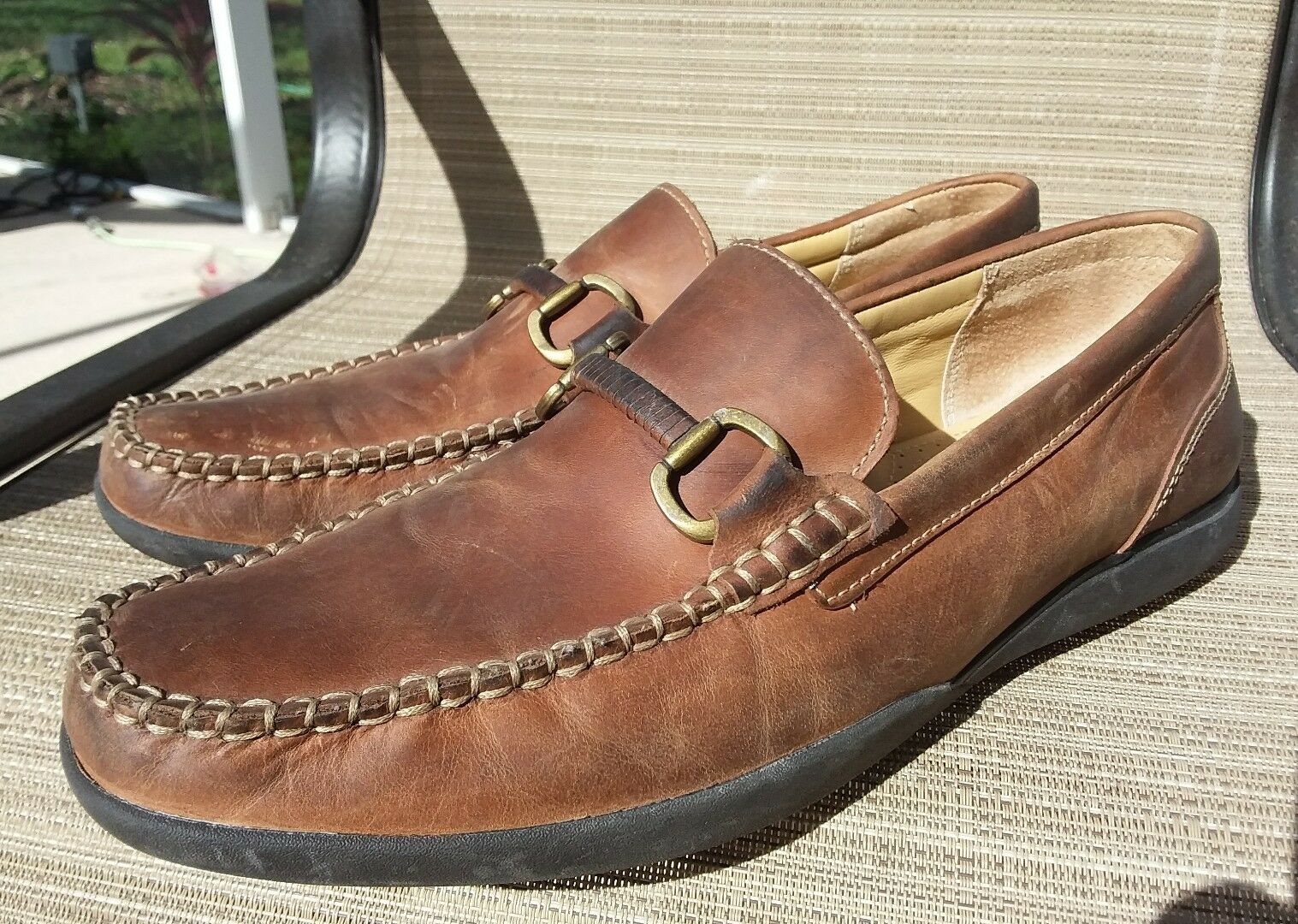 Brass Boot Mens Walking Gloves Horse Bit Loafer Driving Moccasins Shoes Sz 12M