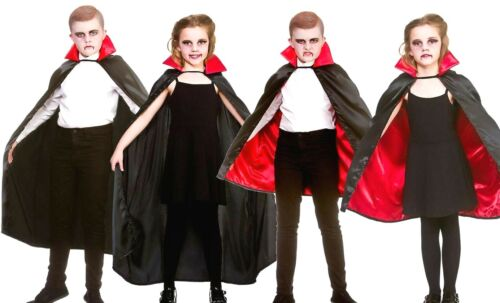 Enfant Satin Deluxe Vampire Cape Halloween Fancy Dress Costume Squelette Grim Kids