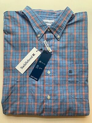 NWT Sport Shirt Big and Tall Saddlebred LS Men Wrinkle Free Blue Plaid New 4X