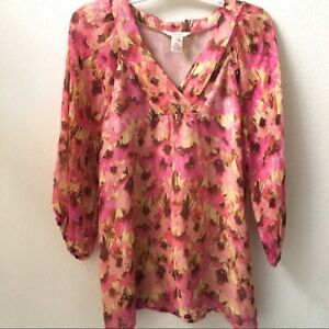 Sundance-Catalog-Blouse-100-Silk-Boho-Pink-Floral-Top-Size-XS