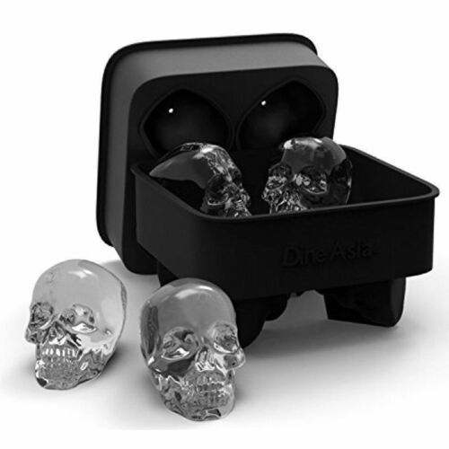 3D Skull Shape Ice Ball Maker Mold Black Flexible Silicone Whiskey Ice CubeTray