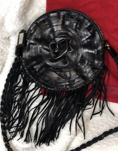 Soft-Rose-Flower-Black-Leather-Valentino-Purse-Handbag-Fringe-Shoulder-Bag-Auth