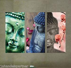 Wellness-Wandbild-3-Buddha-Badezimmer-BAD-Wohn-DEKO-SET-Kunstoff-Tafeln-PP-Neu
