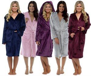 Luxury Shimmer Ladies Soft Long Hooded Fleece Bath Robe Dressing ... 2e024e02e