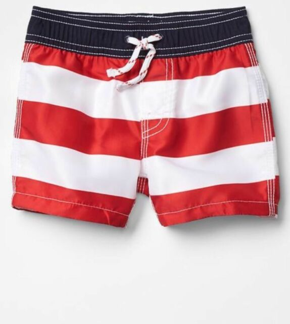956fb758cc9d2 GAP Baby Boys Size 3-6 Months NWT Red White Blue Striped Swimming Trunks  Shorts