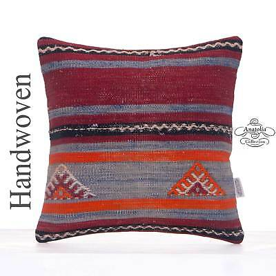 """Vintage Rug Cushion Cover 16x16"""" Striped Handmade Kilim Throw Pillow Supplement The Vital Energy And Nourish Yin Pillowcases Antiques"""