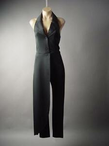 Avant-Garde-Black-Tux-Lapel-Halter-Evening-Dress-Pant-Suit-189-mv-Jumpsuit-S-M-L