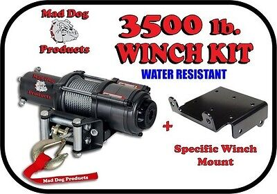 3500lb Mad Dog Winch Kit for ATV//UTV that already have Winch Plate Installed