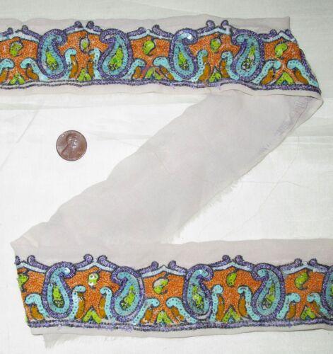 Vintage Antique Border Sari Trim Lace RARE OLD  2 ft T1821 Off-white #ABJCM