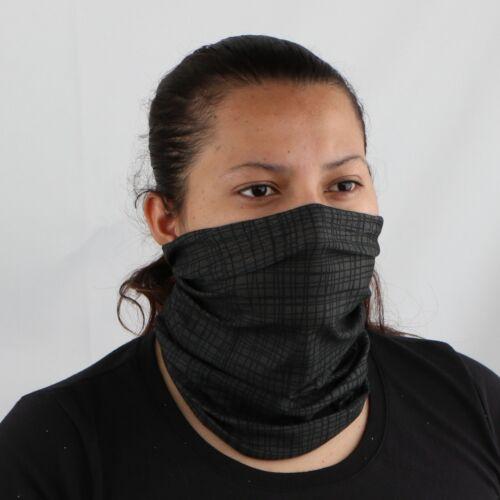 Face Mask Neck Gaiter Balaclava Neckerchief Headband Grey Square Print Face Tube