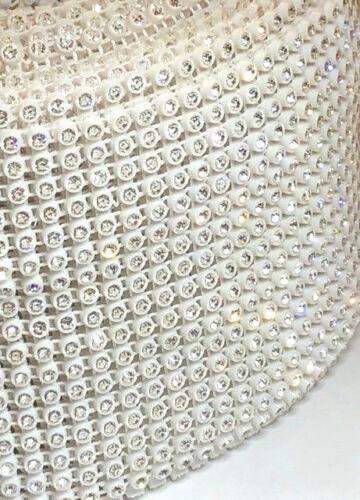 1YD 18 Row White NON-STRETCHY Rhinestone Ribbon Wedding Dress Trim Dance Costume