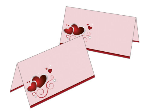 50 Tischkarten rote Herzen Hochzeit Namenskarte Platzkarte Geschenkanhänger rot