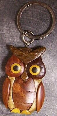 INTARSIA SOLID WOOD KEYCHAIN  KEY RING ANIMAL MOUSE WITH BALL MULTI COLOR NEW