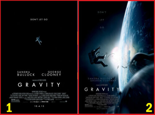 Movie Poster GRAVITY 2013 George Clooney Space Walk Sandra Bullock