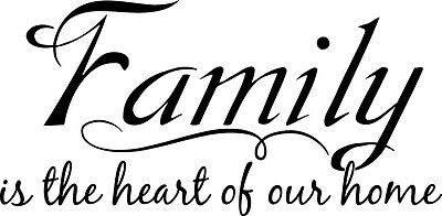 Family is the heart Wall vinyl Decal Vinyl Decor Car Motivational Quotes Decals