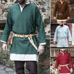 Para-Hombres-Camisa-Manga-Larga-Medieval-Renacimiento-faire-Macho-Prendas-para-el-torso-Camiseta