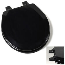 Deluxe Black Round Wood Toilet Seat, Adjustable Hinges