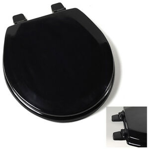 Deluxe-Black-Round-Wood-Toilet-Seat-Adjustable-Hinges