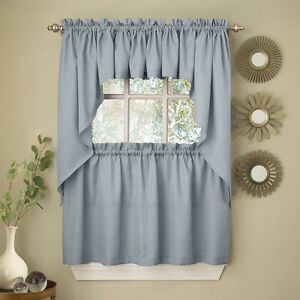 Image Is Loading Light Blue Opaque Solid Ribcord Kitchen Curtains Choice