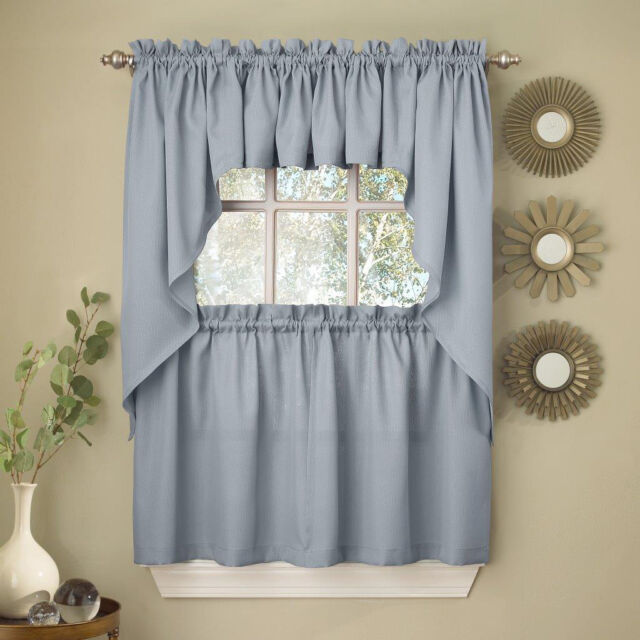 Light Blue Opaque Solid Ribcord Kitchen Curtains Choice Of
