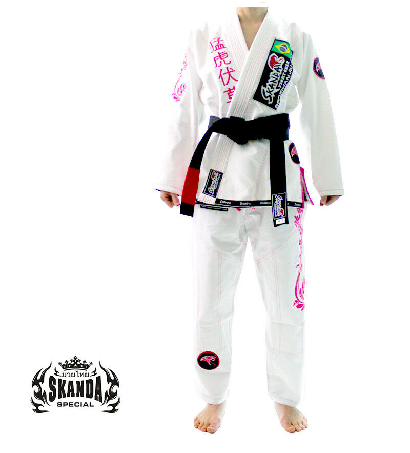 SKANDA Jiujitsu Uniform Female White Pearl Jiu jitsu  GI BJJ Brazil  cheap in high quality