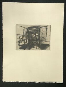 Walter polzenhagen, stanza d'albergo nel temporale, 1959, acquaforte da eredità, 1990