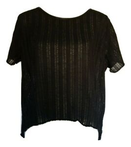 6f336edf93a2 Image is loading Mango-black-Oversized-mesh-leather-t-Shirt-Women-