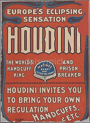 Harry Houdini Handcuffs Jail Breaker Escapologist 1906 12x8 Inch Poster Reprint