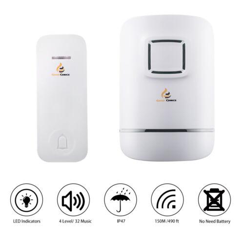 Plug and Play Waterproof Door Bell Kit,No Battery Required Wireless Doorbell