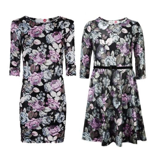 Kids Girls Skater Dress Multi Floral Print Party Fashion Midi Dresses 7-13 Years