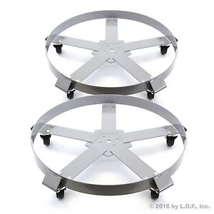 2 Drum Dolly 55 Gal 5 Wheel Swivel Casters Heavy Steel Frame Easy Roll 1250 lbs