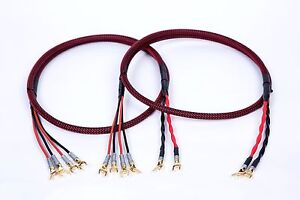 35 Ft Canare 4S11 HI-FI Speaker Cable Pair RB TechFlex Braided 2 to 2 Banana
