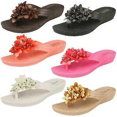 F10273 Ladies Spot On Black Synthetic Wedge Toe Post Slip On Sandals