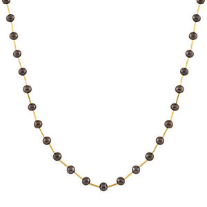 """Pearl tube necklace with 6-6½mm white freshwater pearl, 17"""", 14k gold."""