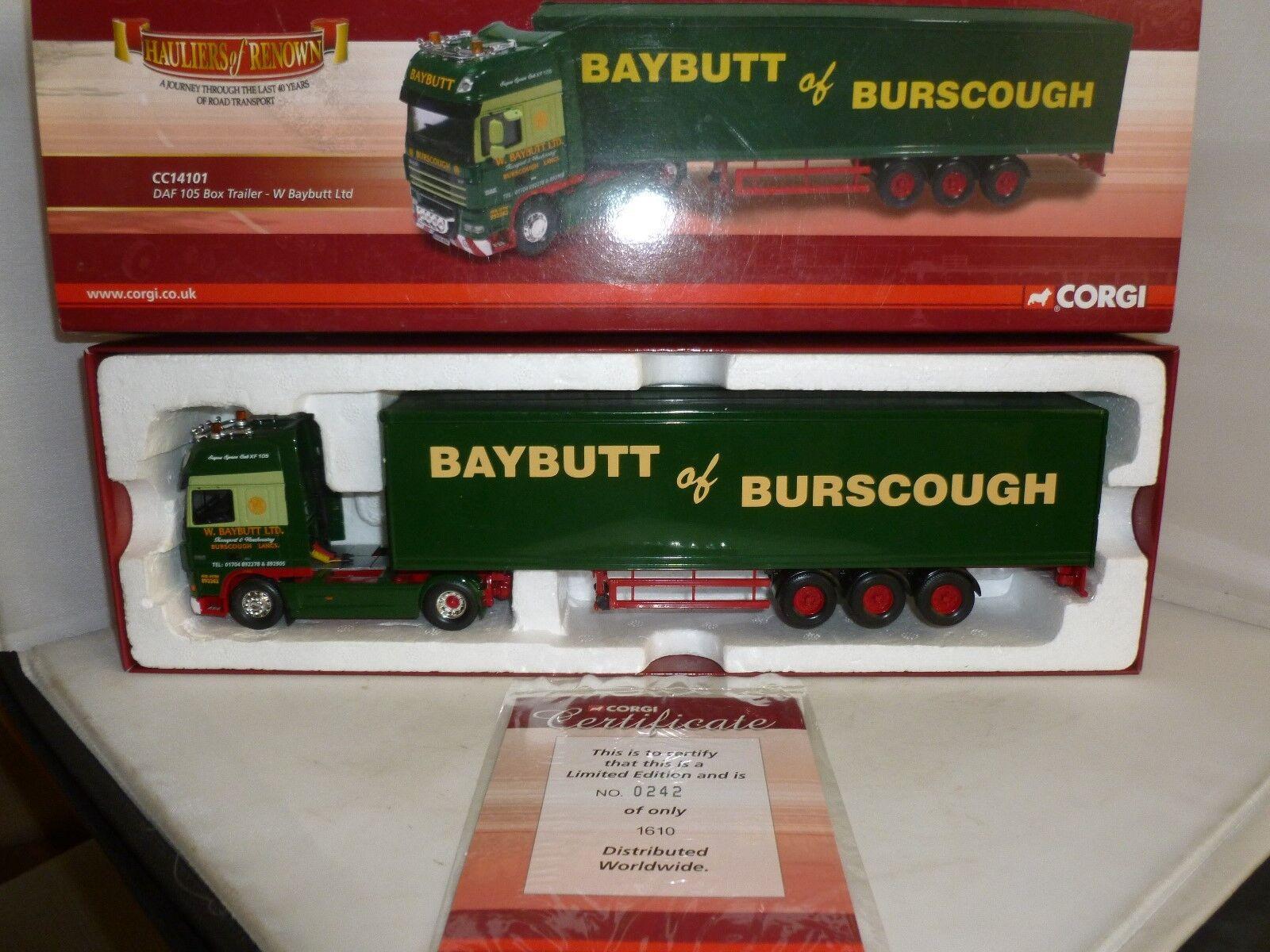 CORGI DIECAST HAULIERS OF RENOWN CC14101 DAF 105 BOX TRAILER W BAYBUTT LTD