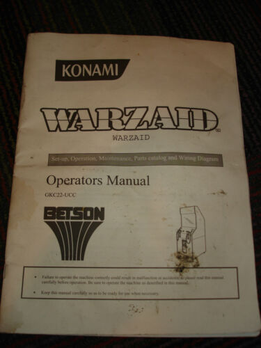KONAMI WARZAID ARCADE GAME ORIGINAL OPERATORS MANUAL, GUC