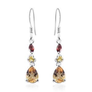 Citrine-Yellow-Cubic-Zirconia-CZ-925-Sterling-Silver-Dangle-Tear-Drop-Earrings
